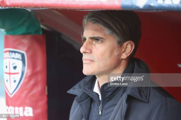 Cagliari's coach Diego Lopez looks on during the serie A match between Cagliari Calcio and Spal at Stadio Sant'Elia on February 4 2018 in Cagliari...