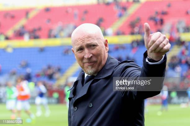 Cagliari's coach Rolando Maran looks on during the Serie A match between Cagliari and SPAL at Sardegna Arena on April 7 2019 in Cagliari Italy