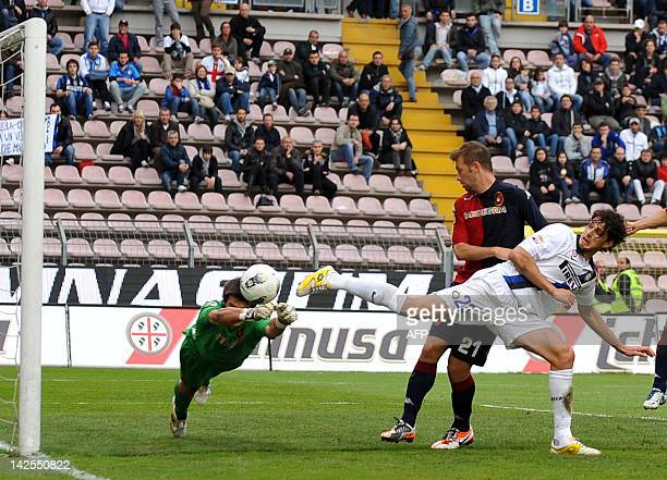 Cagliari's goalkeeper Michael Agazzi saves a ball during the Italian Serie A football match between Cagliari and Inter Milan on April 7 2012 at Nereo...