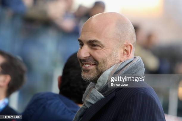 Cagliari's president Tommaso Giulini looks on during the Serie A match between Cagliari and Parma Calcio at Sardegna Arena on February 16 2019 in...