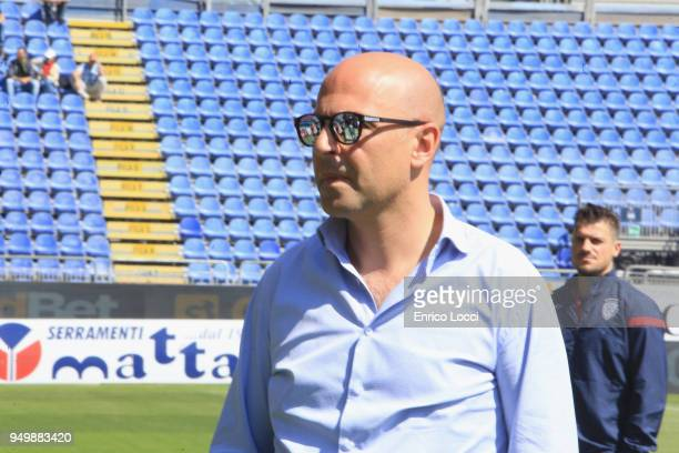 Cagliari's president Tommaso Giulini looks on during the serie A match between Cagliari Calcio and Bologna FC at Stadio Sant'Elia on April 22 2018 in...