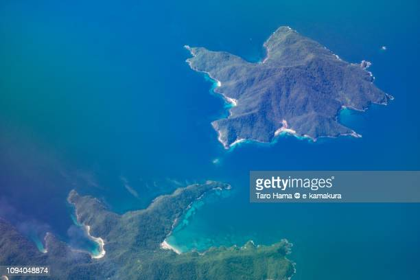 Cagnipa Island and Palawan Island in San Vicente in Province of Palawan in Philippines daytime aerial view from airplane daytime aerial view from airplane