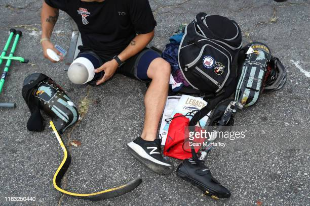 Cahin Perez prepares to compete during the Legacy Triathlon-USA Paratriathlon National Championships on July 20, 2019 in Long Beach, California.