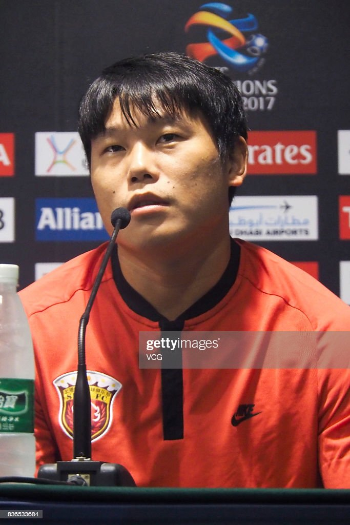 Cai Huikang of Shanghai SIPG F.C. attends pre-match press conference of the AFC Champions League 2017 Quarterfinals 1st leg between Shanghai SIPG and Guangzhou Evergrande at Shanghai Stadium on August 21, 2017 in Shanghai, China.