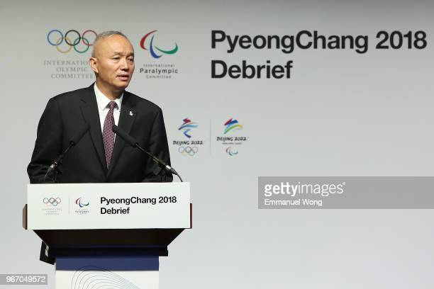 Cai Qi President of the Beijing Organising Committee for the 2022 Olympic and Paralympic Winter Games attends the PyeongChang 2018 Debrief on June 4...