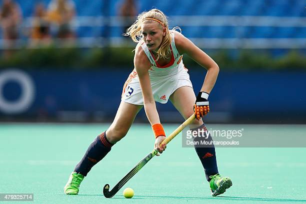 Caia Van Maasakker of the Netherlands in action during the Fintro Hockey World League SemiFinal match between Netherlands and Australia held at KHC...
