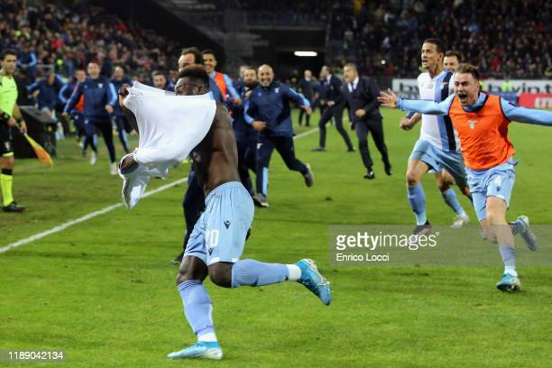 Caicedo Felipe of Lazio celebrates his goal 12 during the Serie A match between Cagliari Calcio and SS Lazio at Sardegna Arena on December 16 2019 in...