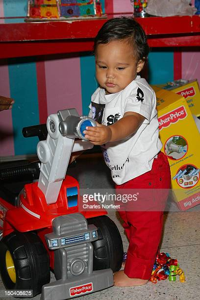 Caiden Mills son of Grammy nominated producer and rapper Consequence attends his First Birthday Party at Dylan's Candy Bar on August 16 2012 in New...