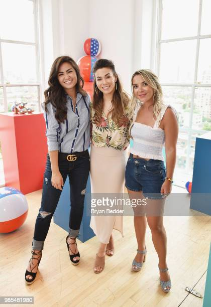 Caila Quinn Sharleen Joynt and Christie Ferrari attend DSW Block Party hosted by Olympians Adam Rippon and Mirai Nagasu on June 27 2018 at Ramscale...