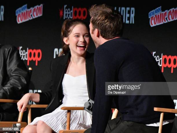 Cailee Spaeny and Scott Eastwood speak onstage during the 2017 New York Comic Con on October 6 2017 in New York City