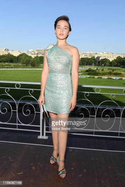 Cailee Spaeny attends Miu Miu club event at Hippodrome d'Auteuil on June 29 2019 in Paris France