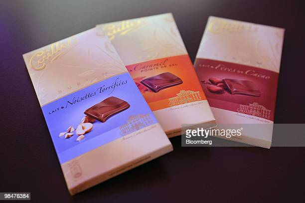 Cailler chocolate bars are displayed at the Nestle SA shareholders' meeting in Lausanne Switzerland on Thursday April 15 2010 Nestle SA the world's...