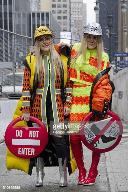 Cailli Beckerman Sam Beckerman seen at Skylight at Moynihan Station outside the Jeremy Scott show wearing construction themed looks by Moschino and...