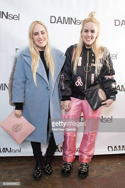 Cailli Beckerman wearing Sandy Liang jacket YSL shoes Damsel bag and twin sister Sam Beckerman wearing Hyein Seo jacket Damael pants bag Alexander...
