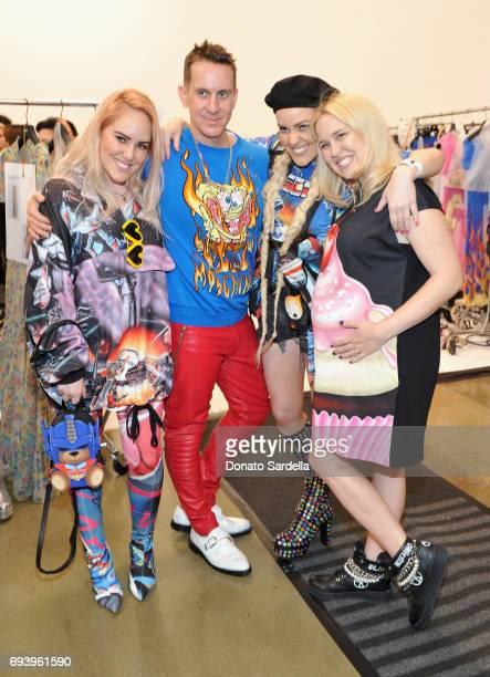 Cailli Beckermann designer Jeremy Scott Sam Beckermann and Chloe Beckermann pose backstage at Moschino Spring/Summer 18 Menswear and Women's Resort...
