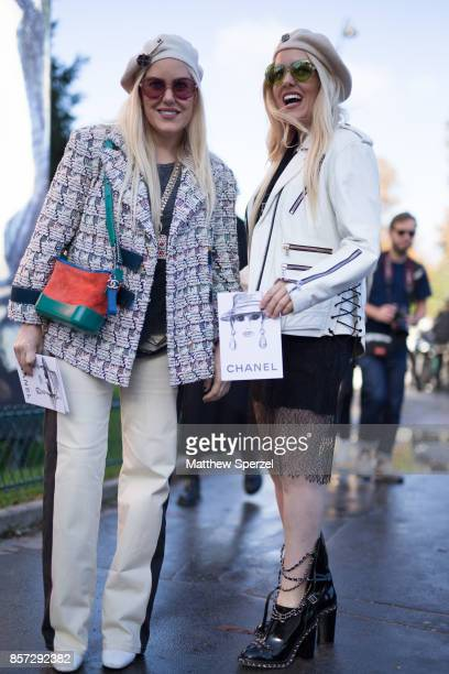 Cailli Sam Beckerman are seen attending Chanel during Paris Fashion Week wearing Chanel on October 3 2017 in Paris France