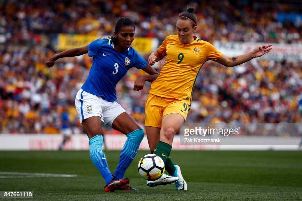Cailtin Foord of Australia and Bruna Benites of Brazil challenge for the ball during the women's international match between the Australian Matildas...