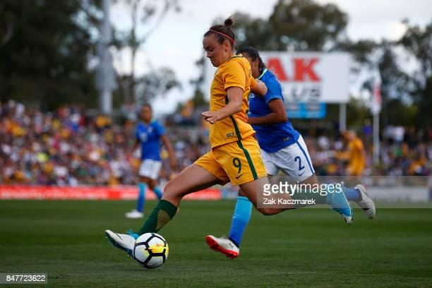 Cailtin Foord of Australia crosses the ball during the women's international match between the Australian Matildas and Brazil at Pepper Stadium on...