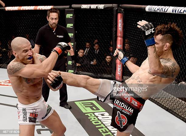 Cain Carrizosa of the United States kicks Leonardo Mafra of Brazil in their lightweight bout during the UFC Fight Night at Maracanazinho Gymnasium on...