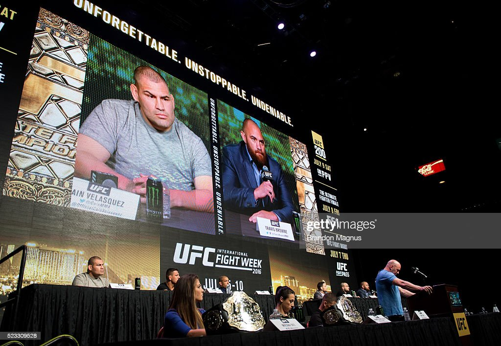 Cain Velasquez and Travis Browne speak to the media during the UFC 197: Ultimate Media Day at MGM Grand Hotel & Casino on April 21, 2016 in Las Vegas Nevada.