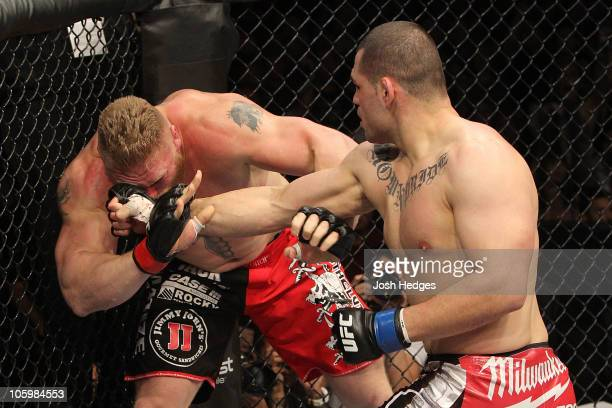 Cain Velasquez connects on a right to the face of Brock Lesnar in the first round during the heavyweight title bout during UFC 121 on October 23 2010...