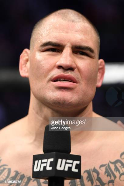 Cain Velasquez is interviewed after his KO loss to Francis Ngannou of Cameroon in their heavyweight bout during the UFC Fight Night event at Talking...