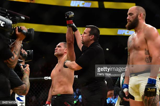 Cain Velasquez reacts to his victory over Travis Browne in their heavyweight bout during the UFC 200 event on July 9 2016 at TMobile Arena in Las...