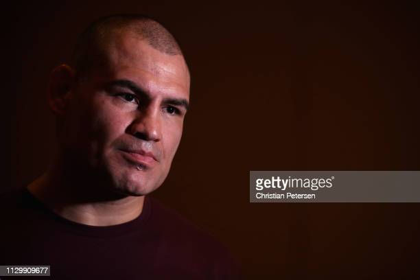 Cain Velasquez speaks with the media during a press conference for UFC Fight Night Ngannou vs Velasquez at the Sheraton Grand Phoenix on February 15...
