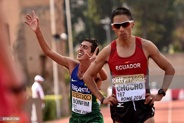 Caio Bonfim and Andres Chocho react after arriving the finish line of the man's 20Km Race Walk at IAAF World Race Walking Team Championship Rome 2016...