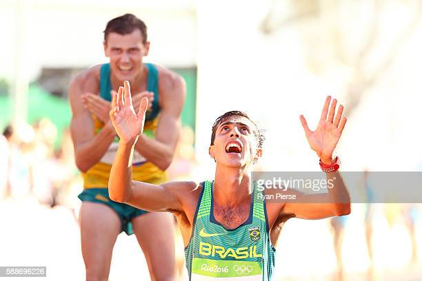 Caio Bonfim of Brazil reacts after placing fourth in the Men's 20km Race Walk on Day 7 of the Rio 2016 Olympic Games at Pontal on August 12, 2016 in...