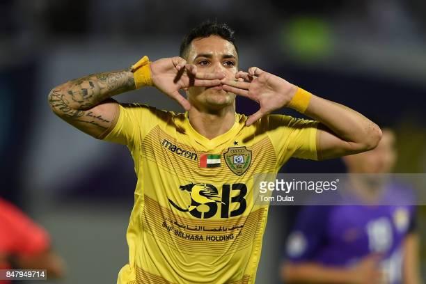 Caio Canedo Correa of Al Wasl celebrates scoring his sides first goal during the Arabian Gulf League match between Al Ain and Al Wasl at Khalifa bin...