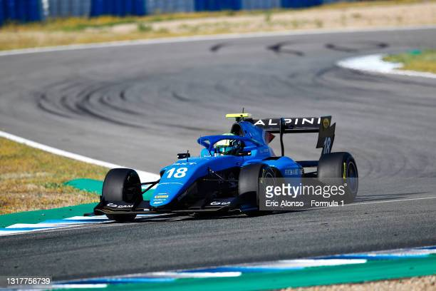 Caio Collet of Brazil and MP Motorsport drives during day two of Formula 3 Testing at Circuito de Jerez on May 13, 2021 in Jerez de la Frontera,...