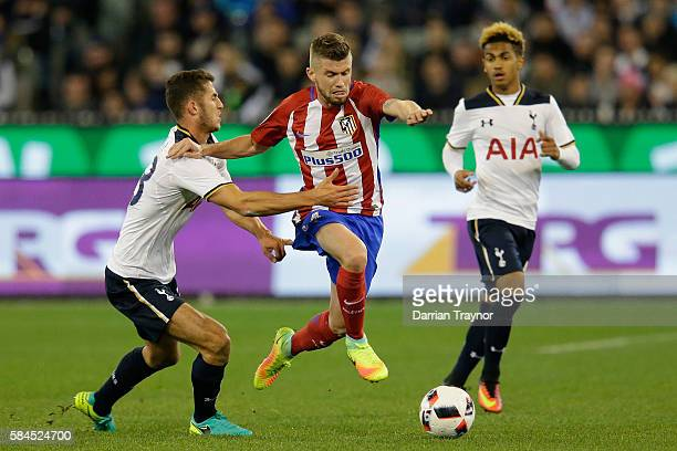 Caio Henrique of Atletico Madrid breaks through the defence during 2016 International Champions Cup Australia match between Tottenham Hotspur and...