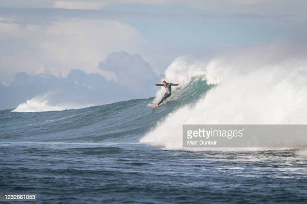 Caio Ibelli of Brazil surfing in Heat 12 of Round 1 of the Boost Mobile Margaret River Pro presented by Corona on May 3, 2021 in Margaret River, WA,...