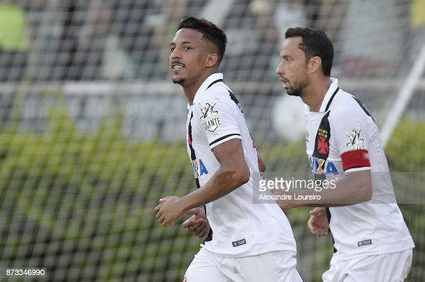 Caio Monteiro and Nene of Vasco da Gama celebrates their first scored goal during the match between Vasco da Gama and Sao Paulo as part of...