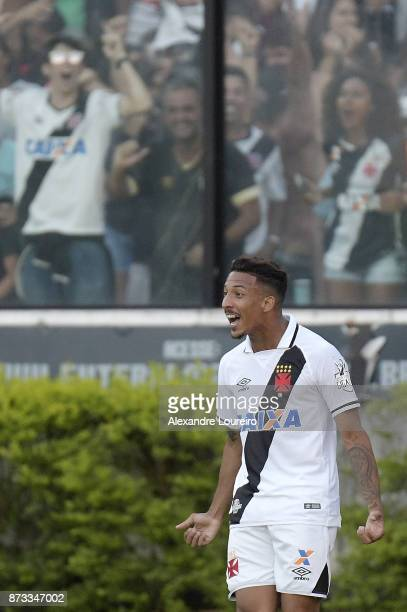 Caio Monteiro of Vasco da Gama celebrates their first scored goal during the match between Vasco da Gama and Sao Paulo as part of Brasileirao Series...