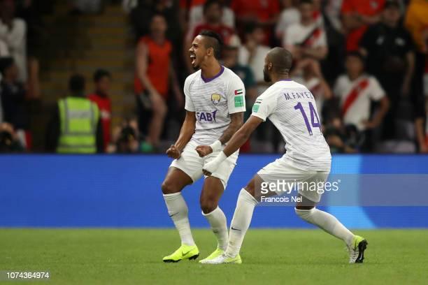 Caio of Al Ain celebrates after scoring his team's second goal with Mohammed Fayez of Al Ain during the FIFA Club World Cup UAE 2018 Semi Final Match...