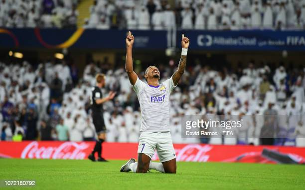 Caio of Al Ain celebrates, but the goal is disallowed following a VAR decision during the FIFA Club World Cup first round play-off match between Al...