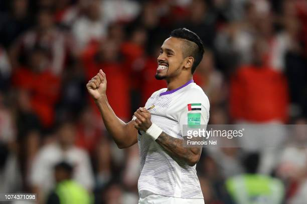Caio of Al Ain celebrates following his sides victory in the FIFA Club World Cup UAE 2018 Semi Final Match between River Plate and Al Ain at Hazza...
