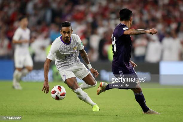 Caio of Al Ain controls the ball from German Lux of River Plate during the FIFA Club World Cup UAE 2018 Semi Final Match between River Plate and Al...