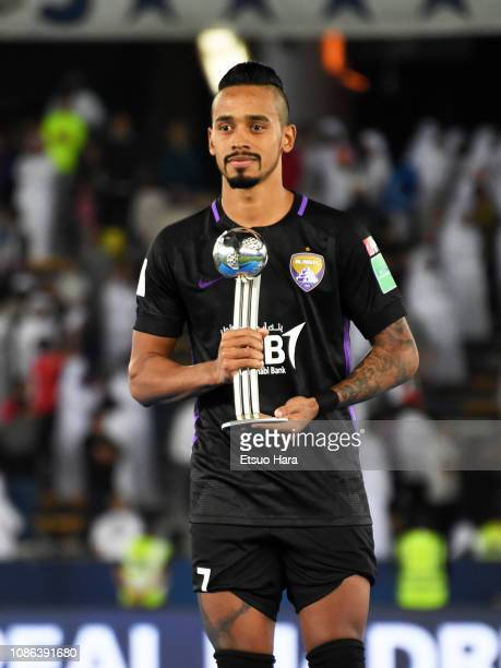 Caio of Al Ain holds Adidas Silver Ball award trophy after the FIFA Club World Cup UAE 2018 Final between Real Madrid and Al Ain at the Zayed Sports...