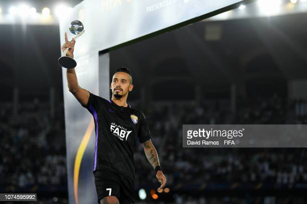 Caio of Al Ain poses with his Adidas Silver Ball award after the FIFA Club World Cup UAE 2018 Final between Al Ain and Real Madrid at the Zayed...