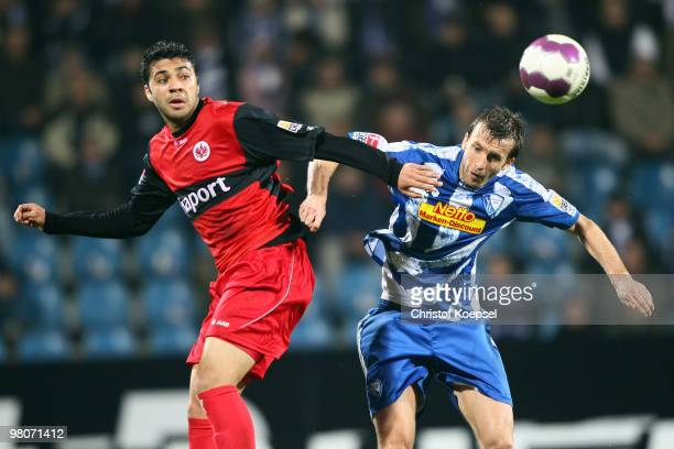 Caio of Frankfurt and Christoph Dabrowski of Bochum go up for a header during the Bundesliga match between VfL Bochum and Eintracht Frankfurt at...