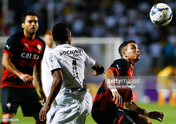 Caio of Vitoria in action during the match between Santos and Vitoria for the Brazilian Series A 2014 at Pacaembu stadium on September 6 2014 in Sao...
