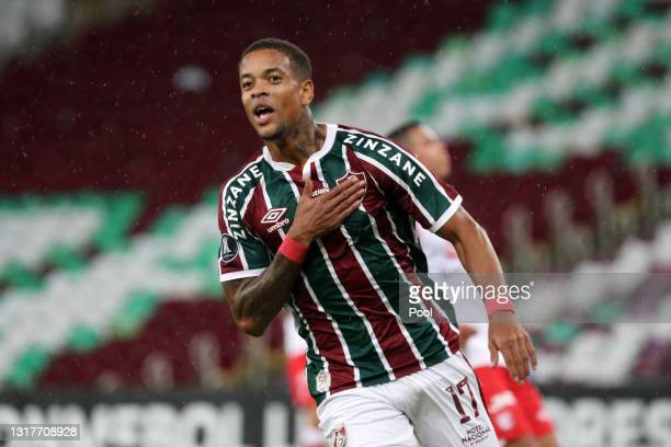 Caio Paulista of Fluminense celebrates after scoring the second goal of his team during a match between Fluminense and Santa Fe as part of group D of...