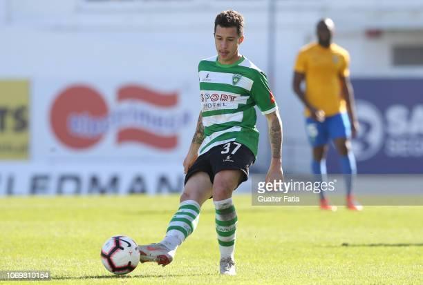 Caio Quiroga of SC Covilha in action during the Liga Ledman Pro match between GD Estoril Praia and SC Covilha at Estadio Antonio Coimbra da Mota on...