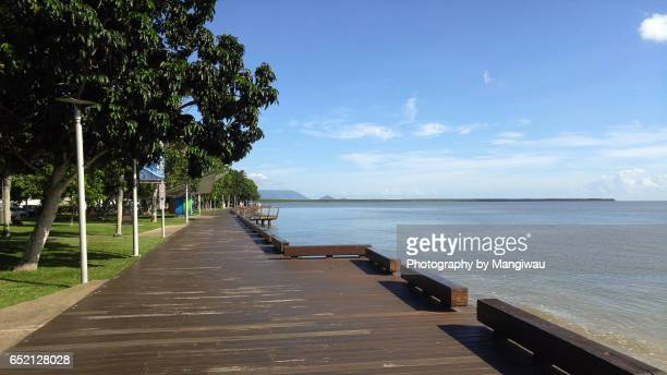 cairns boardwalk - cairns stock photos and pictures