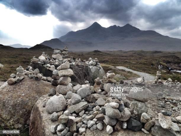 Cairns built at Sligachan, Isle of Skye