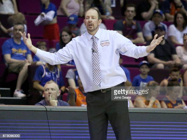 Cairns coach Aaron Fearne reacts during the round six NBL match between the Brisbane Bullets and the Cairns Taipans at Brisbane Convention Exhibition...
