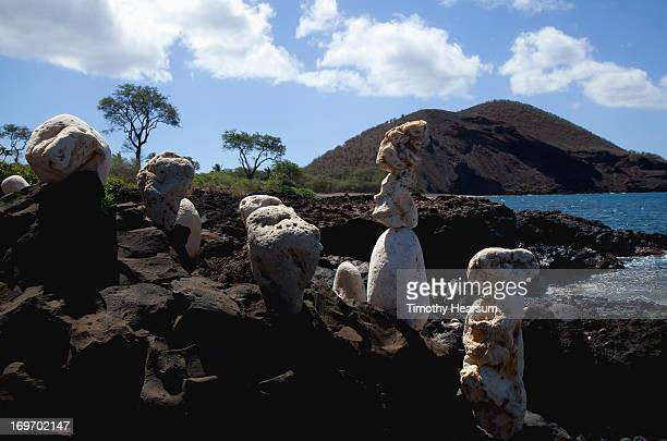 cairns of white rock stand on black lava rock - timothy hearsum stock photos and pictures